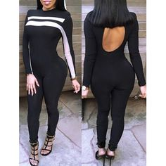 Stylish Round Neck Long Sleeve Spliced Cut Out Women's Jumpsuit