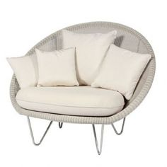 Vincent Sheppard Gipsy Cocoon Lounge Chair in Old Lace with Cushion #interiordesign #vincentsheppard #furniture #gardenfurniture #outdoorliving
