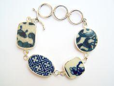 Broken China Bracelet Delft Blue Pieces Pottery by polishedtwo, $28.00