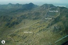 Oblique aerial view of Marcus landslide slidemass and head scarp, McDowell Mountains, central Arizona.