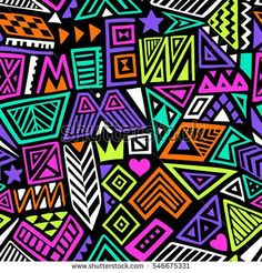multicolor vector seamless pattern with abstract shapes. geometric art print. fashion 80s-90s. memphis style design. ethnic hipster backdrop. hand drawn. Wallpaper, cloth design, fabric, textile.