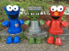 Elmo grouch Cookie Monster pot people
