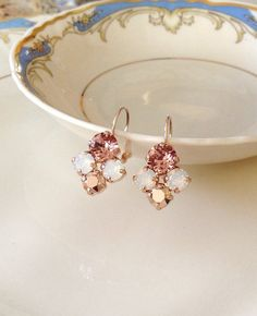 Bridesmaid Jewelry, Bridesmaid Gifts, Wedding Jewelry, Gold Wedding, Cluster Earrings, Rose Earrings, Stud Earrings, Crystal Cluster, Crystal Drop