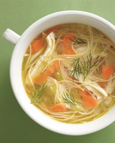 Chicken Noodle Soup ... very few ingredients - but good method for poaching the chicken in the soup