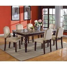 Acme 70380 Bandele 7pcs Grey Marble Top Espresso Leg Table Dining Set