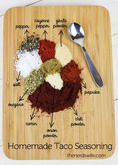 Homemade Taco Seasoning .i made this tonight minus the cumin and oregano (didn't have any) and it was great.