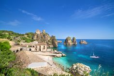 Plan your vacation to Sicily and see places like Palermo, Messina, Taormina, Catania, and Agrigento. Sicily is one of the most beautiful spots in Italy. Trapani Sicily, Sicily Italy, Most Beautiful Beaches, Beautiful Places, Beautiful Villas, Beautiful Islands, Places To Travel, Places To See, Best Beaches In Europe