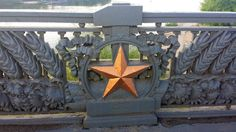 Vestiges of a Soviet past on the Paton Bridge in Kyiv.