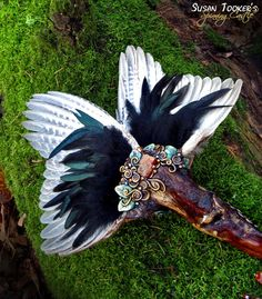 Pheasant Wing Feather Smudge Fan Pagan Altar Reiki Ritual Magic Crystals Driftwood GLOWING ABUNDANCE by Spinning Castle