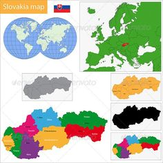 Slovakia Map by Volina Vector map of the Slovak Republic drawn with high detail and accuracy. Slovakia is divided into regions which are colored with dif World Thinking Day, Vector Portrait, Map Vector, Bratislava, Vector Pattern, Vector Design, Decoration, Graphic Art, Activities For Kids