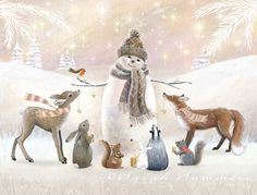 Gentle, kind and very nice illustration of Sarah Summers. Discussion on LiveInternet - Russian Service Online diary Christmas Scenes, Christmas Love, Christmas Pictures, Winter Christmas, Vintage Christmas, Christmas Crafts, Christmas Decorations, Xmas, Christmas Animals