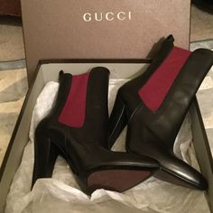 Gucci Black Booties New in box. Beautiful black leather with a burgundy detail. Price firm. Gucci Shoes Ankle Boots & Booties