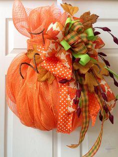 Pumpkin Fall Wreath Mesh Wreath Welcome Wreath by WilliamsFloral