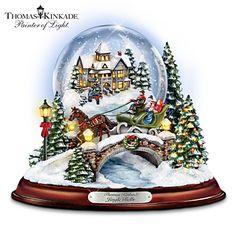 "Thomas Kinkade Musical ""Jingle Bells"" Snowglobe With Swirling Snow"