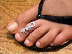 Bague d'orteil en argent sterling torsadée fil enroulé mignon et réglable