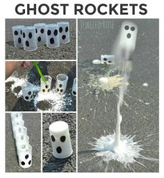 Flying Ghost Rockets- these rockets fly high into the air. FUN Fall Science kids love Wow the kids this autumn and make ghost rockets ! We love Halloween . We also love science . Today, we combined the two to make flying ghost rockets . Halloween Science, Theme Halloween, Halloween Crafts For Kids, Holidays Halloween, Fall Crafts, Holiday Crafts, Holiday Fun, Halloween Week, Preschool Halloween