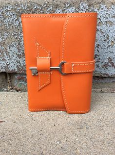 Bright orange refillable leather journal / sketchbook / notebook by bindingbee on Etsy https://www.etsy.com/listing/497488505/bright-orange-refillable-leather-journal