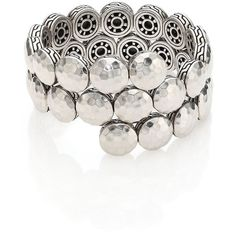 John Hardy Dot Sterling Silver Disc Double Coil Bracelet ($1,295) ❤ liked on Polyvore featuring jewelry, bracelets, fashion jewelry - john hardy, silver, dot jewelry, sterling silver jewelry, john hardy jewelry, hammered jewelry and chains jewelry