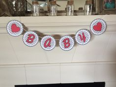 Baby Shower Banner Red and Black Shower Grey by PinkHoneycomb