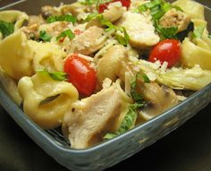 Chicken, Mushrooms and Artichoke Hearts with Cheese Tortellini in a Light Lemon Butter Sauce