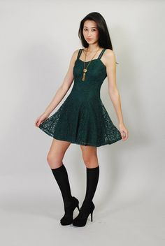 Vintage Green Dress 90s Lace Emerald Green Dolly Mini Dress XS S Formal Prom Dress