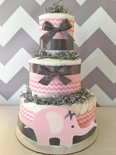 Chevron Elephant Diaper Cake in Pink and Grey, Elephant Baby Shower Centerpiece for Girls, Elephant Baby Shower Decoration in Pink and Grey by AllDiaperCakes on Etsy https://www.etsy.com/listing/228788607/chevron-elephant-diaper-cake-in-pink-and