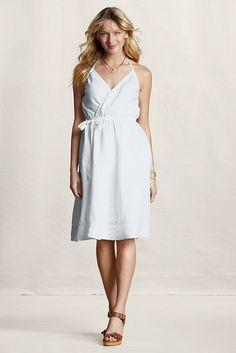 Flirty Linen Halter Dress from @Lands' End Canvas. Perfect for the White Party!