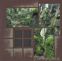 Scrapilde-Pagina 4 uit album 'puzzlewood', bestaande uit 5 (voorgesneden) pagina's voor en achterkant bewerkt, gabarit brussel-mexico, kijk voor de ganse serie op mijn blog !