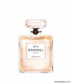 Chanel n ° 5 parfum bouteille colorée Fashion Illustration Fine Art Print