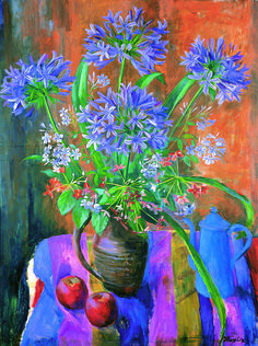 'Agapanthus And Plumbago' by Margaret Olley (Geelong Art Gallery, Victoria) www.artpublishing.com.au