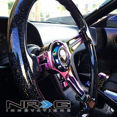 """Photo gallery for ST-036BSB-MC Black Sparkled Wood Grain Wheel (3"""" Deep), 350mm, 3 Solid spoke center in Neochrome 