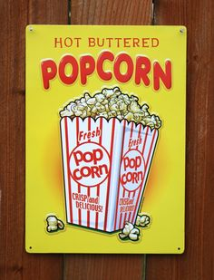 Pin Hot Buttered Popcorn Tin Metal Sign Home Movie Theater Media Room Kitchen G18