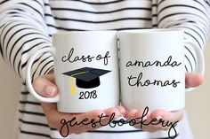 Personalized Class Of 2018 Mug - Graduation Cap - Graduation - Graduation Gift - Gift For Grad - Class Of 2018 - Graduate - Coffee Mug - Mug Sublimation Mugs, Class Of 2018, Graduation Gifts, White Ceramics, Coffee Mugs, Cap, Let It Be, Unique Jewelry, Handmade Gifts
