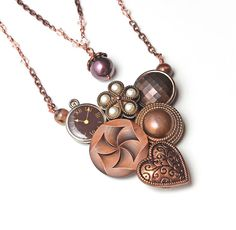 Vintage Button Necklace Steampunk Victorian Copper Chain Swarovski Crystals Pearl Pendant - One of a Kind