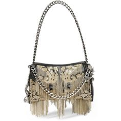 Alexander McQueen Medallion embellished leather shoulder bag (120.061.540 VND) ❤ liked on Polyvore featuring bags, handbags, shoulder bags, black, alexander mcqueen, shoulder bag purse, alexander mcqueen handbags, chain purse and sparkly purses