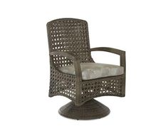 Shop for Klaussner Outdoor Amure Swivel Rocking Dining Chair, W1300 SRDC, and other Outdoor/Patio at Klaussner Outdoor in Asheboro, NC. Airy and contemporary style make Amure a perfect choice for those looking for a new look. The gray Drift all-weather wicker woven in a fresh crystal weave shows off the back design, making this perfect for an area that's seen from all sides.