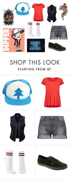"""Dipper Pines - Gravity Falls"" by pudinzinha ❤ liked on Polyvore featuring Disney, Splendid, LE3NO, Current/Elliott, Charlotte Russe and Vans"