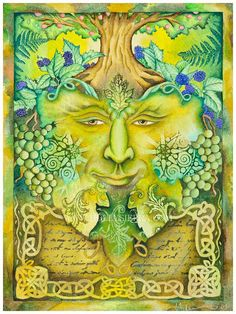 The Celtic Green Man  The Bard Of The Wild Wood by HollySierraArt,Etsy