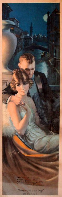 Honeymoon in Venice + Honeymoon in the Alps, 1920s - pair of original vintage posters listed on AntikBar.co.uk