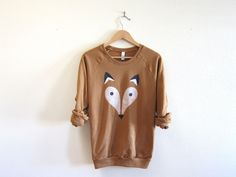 Geo Fox - Hand STENCILED Deep Crew Neck Fleece Raglan Sweatshirt in Rust - S M L XL 2XL 3XL. $54.00, via Etsy.