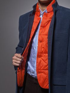 Cotton thick twill coat / navy and orange