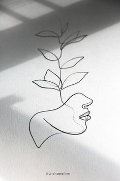 One With the Wild / botanical line drawing / one line drawing - Dessins Minimalistes - One Line Tattoo, Single Line Tattoo, Single Line Drawing, Line Art Tattoos, Tattoo Drawings, Art Drawings, Drawing Faces, Botanical Line Drawing, Botanical Drawings
