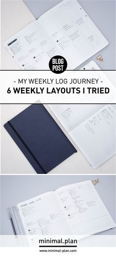 I've been experimenting a lot since I started my first bullet journal, especially on my weekly logs. Here are 6 layouts I tried during this journey! | Bullet journal inspiration; bullet journal weekly log, weekly layout ideas, weekly spread inspiration in a minimal bullet journal