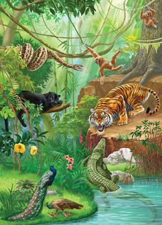 It's a jungle out there. Jungle Scene, Jungle Art, Jungle Animals, Animal Wallpaper, Nature Wallpaper, Animal Paintings, Animal Drawings, Graffiti Kunst, Paradise Pictures