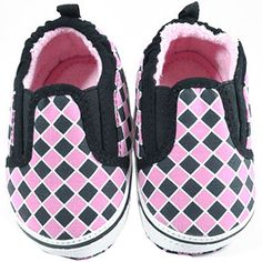 Black & Pink Check Slip On Baby Shoes