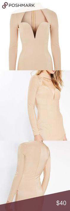 Rare London Choker Bodycon Sexy Stretch Dress Rare London Choker Bodycon Stretch Dress  Womens size Large Beige  Padded cups, Cutout   Measurements laying flat: Armpit to armpit  17in Waist  15in Length from shoulder to bottom hem  33in  *Tried on, never worn* <3 Rare London Dresses Mini