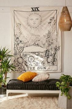 Find décor and accessories to fit your dorm room style. Urban Outfitters has wall art, tapestries, string lights, and more to complete your apartment decor. Bohemian Bedroom Decor, Bohemian Room, Bohemian Tapestry, Hippie Apartment Decor, Bohemian Beach Decor, Hippie Bedrooms, Tapestry Beach, Bohemian Homes, Bohemian Lifestyle