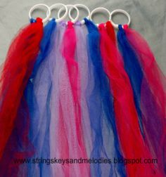 Dance Ribbons. Shower curtain rings (Dollar Store). Ribbon or tulle, cut into 40-60 inch long strips. Tie and knot 2-3 ribbons to each shower curtain ring.  They will hang down doubled so you will have 4-6 ribbons on each ring. Music Ideas to Dance to: The Nutcracker &   Swan Lake by Tchaikovsky