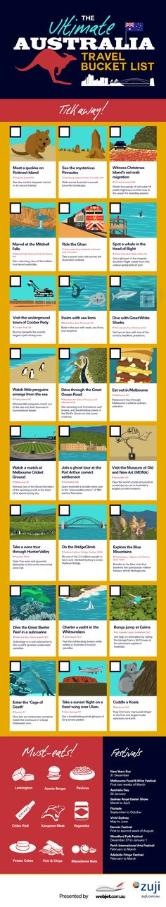 The Ultimate Australia Travel Bucket List [Infographic] WOE Brisbane, Sydney, Perth, Travel List, Travel Goals, Travel Guides, Travel Bucket Lists, Fun Travel, Cheap Travel