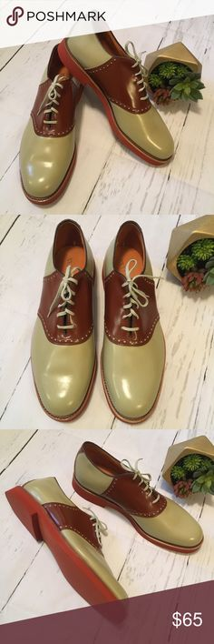 Vintage Cole Haan Tan & Brown Saddle Golf Shoes Vintage Cole Haan Tan & Brown Saddle / Golf Shoes  Men's size 10.5 D/B  They are NWOT!  There are several tiny black specs on the top side of one shoe.  Please consider all photos as part of item description!  Pet & Smoke Free Home  Ships next business day! Cole Haan Shoes